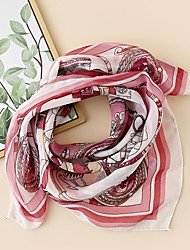 cheap -Women's Square Scarf Party Pink Scarf Graphic Chiffon Fall Spring