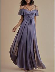 cheap -A-Line Empire Minimalist Prom Formal Evening Dress Spaghetti Strap Short Sleeve Floor Length Chiffon with Pleats Split 2021
