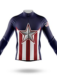 cheap -21Grams Men's Long Sleeve Cycling Jersey Spandex Polyester Dark Navy American / USA Stars Funny Bike Top Mountain Bike MTB Road Bike Cycling Quick Dry Moisture Wicking Breathable Sports Clothing