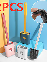 cheap -2PCS Bathroom Toilet Cleaning Tools,Multiple Colors Silicone Toilet Brush With  Holder Creative Cleaning Brush Set Cleaning Tools