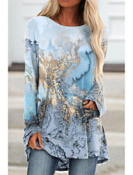 cheap -Women's Abstract Painting Tunic T shirt Graphic Long Sleeve Print Round Neck Basic Tops Blue