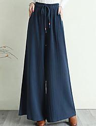 cheap -Women's Fashion Streetwear Comfort Culottes Wide Leg Loose Casual Weekend Pants Plain Full Length Pocket Elastic Drawstring Design Yellow Wine White Black Navy Blue