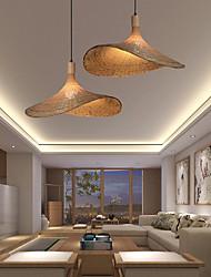cheap -LED Pendant Light 30 40 50 cm Geometric Shapes Pendant Light Wood Bamboo Nature Inspired Country 220-240V