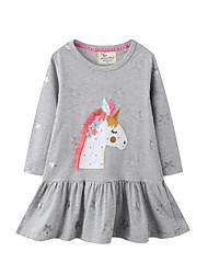 cheap -Kid's Little Little Girl Dress Unicorn Print Gray Long Sleeve Dresses 1-6 Years