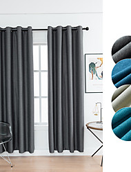 cheap -Window Curtain Window Treatments 2 Panels Room Darkening Grey Plain Solid for Living Room Bedroom Patio Sliding Door