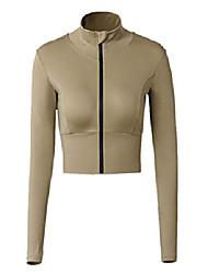 cheap -long sleeve running top womens vital full zip yoga gym crop top sports jacket slim fit (beige, medium uk 8-10)