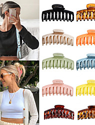cheap -10 Pcs/set Solid Color Claw Clip Large Barrette Crab Hair Claws Bath Clip Ponytail Clip For Women Girls Hair Accessories Gift