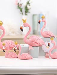 cheap -Nordic Home King Queen Flamingo Decoration Cake Decoration Birthday Gift Flamingo Resin Handicraft Decoration