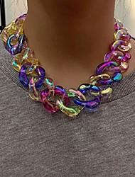 cheap -punk colorful acrylic cuban link chain choker necklace chunky chain link statement necklace boho fashion collar necklace jewelry gift for women teens girls