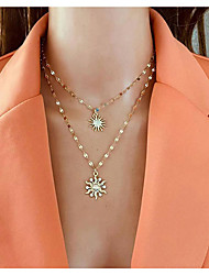 cheap -simple style alloy sunflower pendant necklace chain necklace fashion multi-layer necklace