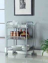 cheap -Honeycomb Mesh Style Three Layers Removable Storage Cart Silver Furniture