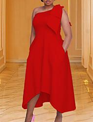 cheap -Women's Plus Size Dress Swing Dress Midi Dress Sleeveless Solid Color Pocket Bowknot One Shoulder Elegant Spring Summer Yellow White Red L XL XXL XXXL