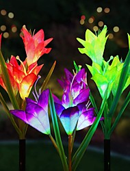 cheap -3 Packs Solar Flower Lights Outdoor Solar Garden Stake Lights Outdoor with 12 Lily Flowers Multi-Color Changing LED Solar Decorative Lights for GardenPatio Lawn PathBackyard