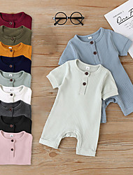 cheap -Baby Unisex Basic Solid Colored Short Sleeves Romper Blushing Pink Wine Army Green