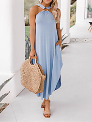 cheap -Women's Shift Dress Maxi long Dress Light Blue Large quantities of spot goods shipped on the same day Gray Black Sleeveless Solid Color Hollow Out Spring Summer Casual 2021 S M L XL