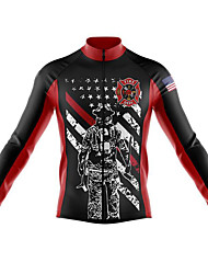 cheap -21Grams Men's Long Sleeve Cycling Jersey Spandex Polyester Black / Red American / USA Funny Bike Top Mountain Bike MTB Road Bike Cycling Quick Dry Moisture Wicking Breathable Sports Clothing Apparel