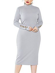 cheap -Women's Plus Size Dress Knit Dress Midi Dress Long Sleeve Plain Turtleneck Casual Fall Winter Wine Gray Dark Blue XL XXL 3XL 4XL 5XL