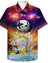 cheap -Men's Shirt 3D Print Beer Football Soccer Football player Plus Size 3D Print Button-Down Short Sleeve Casual Tops Casual Fashion Breathable Comfortable Fuchsia