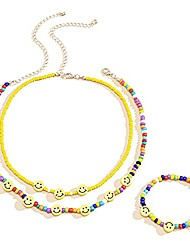 cheap -bohemian smiley face beaded necklace rainbow seed bead y2k fashion layered necklaces glass beaded indie choker bracelet set hippie chain jewelry for women and teen girls (3pcs)