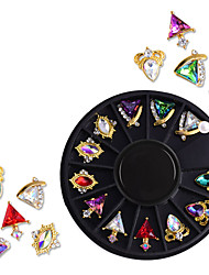 cheap -12 Types/box Nail Art Alloy Jewelry Turntable Nail Shaped Metal Color Diamond Phototherapy Nail Art Decoration