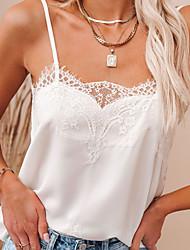 cheap -Women's Camisole Tank Top Vest Plain Lace Trims V Neck Basic Streetwear Tops Gray White Black