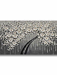 cheap -Oil Painting Handmade Hand Painted Wall Art Plant Flowers White Blossom 3D Palette Knife Home Decoration Decor Stretched Frame Ready to Hang