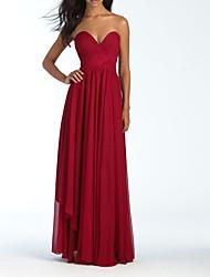 cheap -A-Line Strapless Floor Length Chiffon Bridesmaid Dress with Pleats