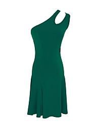 cheap -Latin Dance Dress Solid Women's Training Performance Sleeveless Natural Crystal Cotton