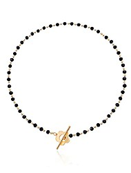 cheap -flower toggle clasp choker necklace, black crystal beads plum blossom shape ot clasp necklace, white pearl beads choker, women girls exquisite elegant jewelry gift-black