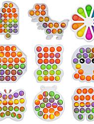 cheap -2 pcs Rainbow Push Bubble Pops Fidget Sensory Toy for Autisim Special Needs Anti-stress Game Stress Relief Squishy Fidget Toys