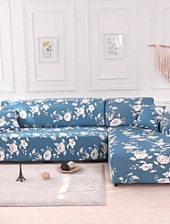 cheap -Stretch Sofa Cover Slipcover Elastic Sectional Couch Armchair Loveseat 4 Or 3 Seater L Shape Blu Floral Flower Soft Durable