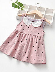 cheap -kids girls bear graphic print lapel neck sleeveless cute a-line dress grey, 6 years