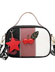 cheap -Women's Bags PU Leather Crossbody Bag Glitter Tassel Color Block Fashion Daily Going out Retro 2021 Handbags Blushing Pink Light Purple Green Red