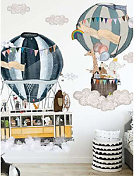cheap -Cartoon animal hot air balloon wall sticker children's room kindergarten decoration self-adhesive removable voyage