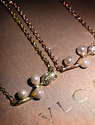 cheap -Women's Ivory Pearl Pendant Necklace Monogram Floral / Botanicals Flower Elegant Fashion Korean Brass Rose Gold Gold 50 cm Necklace Jewelry 1pc For Anniversary Gift Birthday Party Festival