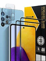 cheap -4pack  samsung galaxy a72 5g screen protector tempered glass + camera lens protector edge of edge full coverage,full adhesive,9h hardness,hd clear,case friendly,bubble free for galaxy a72 5g