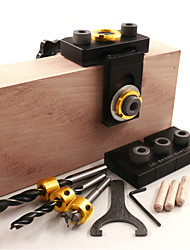 cheap -3-in-1 Adjustable Woodworking Hole Jig with Drill for Drill Guide Spotters Hole Punch Tools