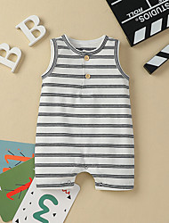 cheap -Baby Girls' Active Basic Striped Patchwork Sleeveless Romper White Black Brown