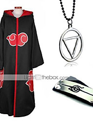 cheap -Inspired by Naruto Akatsuki Anime Cosplay Costumes Japanese Cosplay Suits Cosplay Accessories Solid Colored Long Sleeve Necklace Headband Hoodie Cloak For Women's Men's