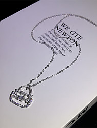 cheap -Women's Clear AAA Cubic Zirconia Pendant Necklace Monogram Box Fashion Holiday European Brass Silver 50 cm Necklace Jewelry 1pc For Wedding Party Evening Prom Birthday Party