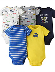 cheap -5 Pieces Baby Unisex Basic Striped Print Letter Print Short Sleeves Romper Rainbow