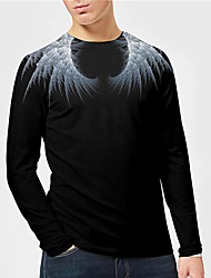 cheap -Men's Unisex Tee T shirt Shirt 3D Print Graphic Prints Wings Print Long Sleeve Daily Tops Casual Designer Big and Tall Black