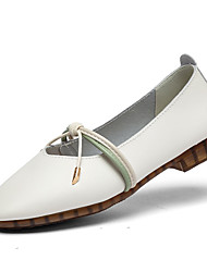 cheap -Women's Flats Flat Heel Round Toe Daily Leather Solid Colored White Black Brown