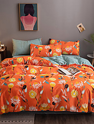 cheap -Home textile AB version pure cotton fresh bed with 4 pieces pure cotton bed sheet Scandinavian bed Orange Flower