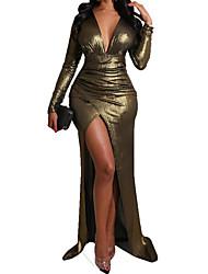 cheap -Women's Sheath Dress Maxi long Dress Golden Long Sleeve Solid Color Spring Summer Sexy 2021 S M L XL