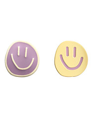 cheap -s925 silver needle south korea asymmetrical round smiley face earrings 2020 new trendy niche hit color earrings female b513