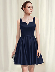 cheap -A-Line Minimalist Sexy Homecoming Party Wear Dress Scoop Neck Sleeveless Short / Mini Satin with Pleats 2021