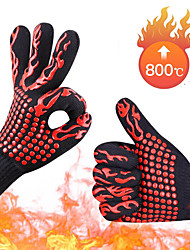 cheap -One Piece BBQ Gloves High Temperature Resistance Oven Mitts 800 Degrees Fireproof Barbecue Heat Insulation Microwave Gloves
