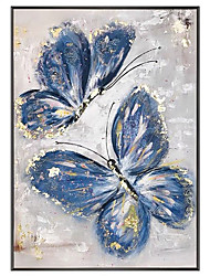cheap -Oil Painting Handmade Hand Painted Wall Art Vertical Modern Abstract Blue Butterfly Home Decoration Decor Rolled Canvas No Frame Unstretched