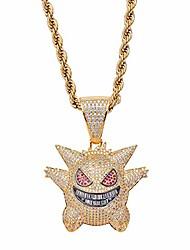 cheap -hip hop elf pokemon zircon iced out cz stone gold gengar pendant necklace